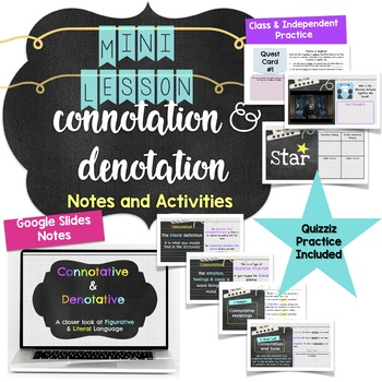 Connotation and Denotation Mini Lesson for Middle School Notes & Activities RL4