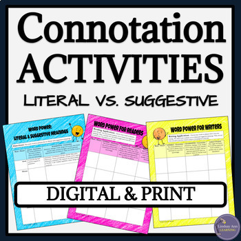 Connotation vs. Denotation Worksheets and Activities for Middle & High School
