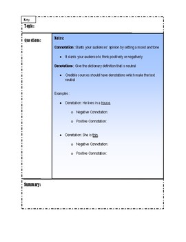 Connotations and Denotations Interactive Notebook Packet