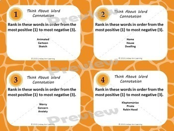 Connotation vs. Denotation Task Cards for Close Reading Practice