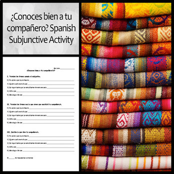 ¿Conoces bien a tu compañero? Spanish Subjunctive Partner Activity