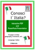 Conosci l` Italia? PDF interattivo e PowerPoint Presentazione ItalianLearning