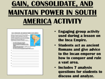 Conquer and Rule - Inca Empire Activity - Global/World History