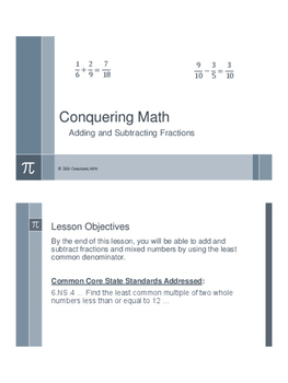 Conquering Math: Adding and Subtracting Fractions