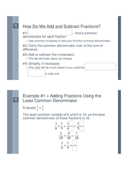 Adding and Subtracting Fractions - Flipped Classroom