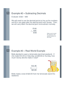 Adding and Subtracting Decimals - Flipped Classroom