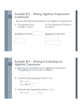 Algebraic Expressions Bundle - Preview