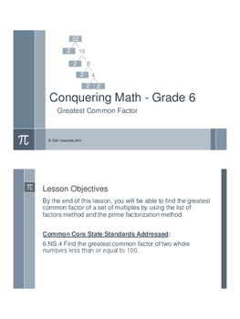 Greatest Common Factor - Flipped Classroom