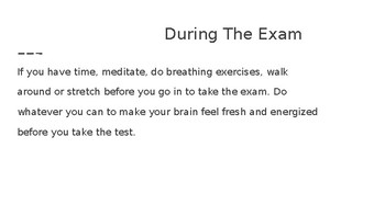 Conquering Test Anxiety- strategies to use during the exam