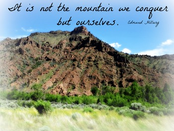Conquering mountains and ourselves inspirational poster