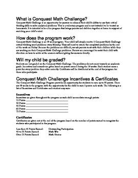 Conquest Math 18 Week Enrichment Math Word Problem Solving 2nd - 5th Grade