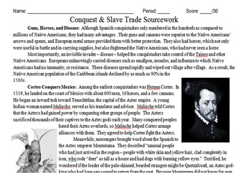 Conquistadors & Slave Trade Primary and Secondary Source Assignment
