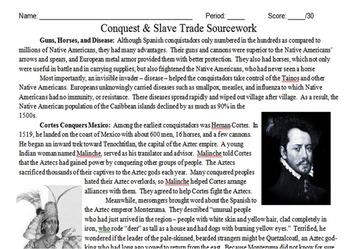 Conquistadors & Slave Trade Primary and Secondary Source A