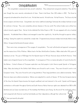 Conquistadors Nonfiction Differentiated Reading Passages & Questions