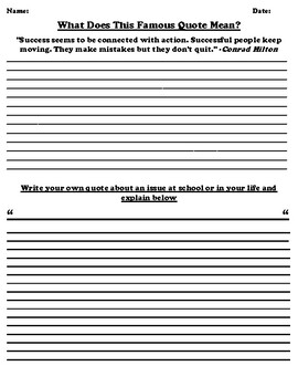 "Conrad Hilton ""Success"" Quote Worksheet (Quote in Description)"