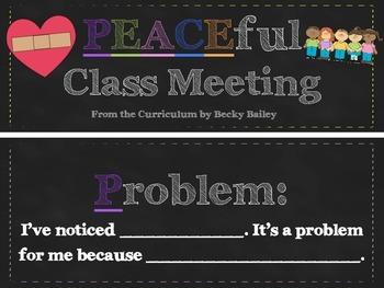 Conscious Discipline PEACE Classroom Meeting Signs
