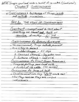 Consciousness Lecture Notes