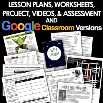 Consciousness Unit Bundled - Worksheets, PPTs, Projects, Plans & Assessment