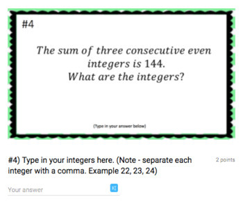 Consecutive Even Integer Word Problems (Google Form & Interactive Video Lesson!)