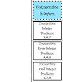 Consecutive Integer Problems Foldable