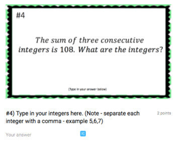 Consecutive Integer Word Problems Google Form Bundle – Google Classroom