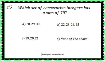Consecutive Integer Word Problems (Google Form & Interactive Video Lesson!)