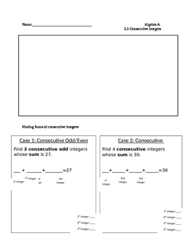 Consecutive Integer graphic organizer