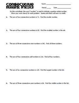 Consecutive Integers - Notes and Practice