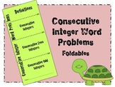 Consecutive Integers Word Problems Foldable