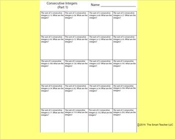 Consecutive Integers Worksheet 1