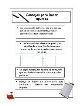Writer's Workshop:Spanish:Tips for Note-Taking: Consejos para hacer apuntes