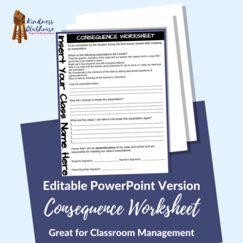 Consequence Worksheet - Editable in Microsoft Publisher