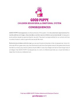 Consequences . Child Behavioral & Emotional Tools by GOOD PUPPY