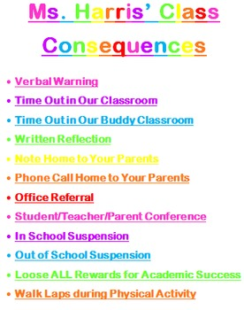 Stars Theme - Consequences for Behavior