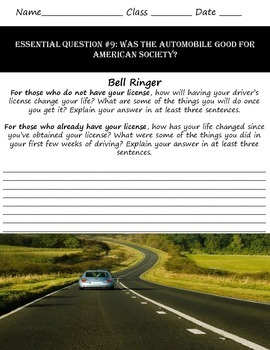 Impact of the Car on American Life: Common Core & Research Based Lesson