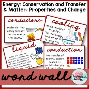 Conservation/Forms of Energy and States of Matter Vocabulary Bundle