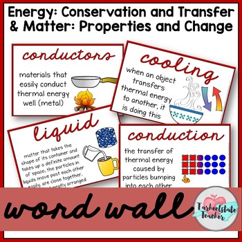 Conservation/Forms of Energy and States of Matter Word Wall