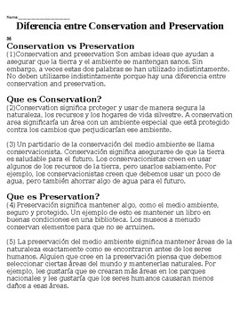 Conservation and Preservation - Reading (ELL)