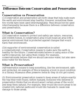 Conservation and Preservation - Reading (SPED)