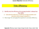 Conservation of Energy - Energy Efficiency