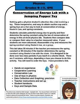 Conservation of Energy Lab with a Jumping Popper Toy COE