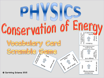 Conservation of Energy: Physics Vocabulary Scramble Game