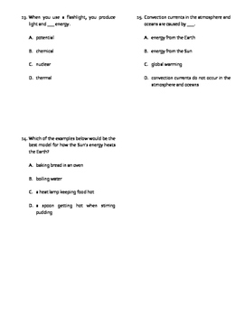 Conservation of Energy Quiz, Test or WS