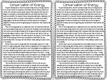 Conservation of Energy Reading Comprehension Interactive Notebook
