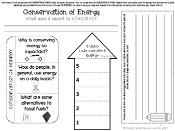 Energy Conservation Reading Comprehension Passage Interactive Notebook