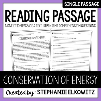 Conservation of Energy Reading Passage