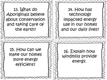 Conservation of Energy and Resources Task Cards