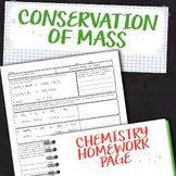 Conservation of Mass Chemistry Homework Worksheet