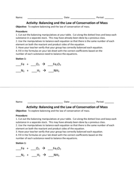 Conservation of Mass - FUN Balancing Activity!