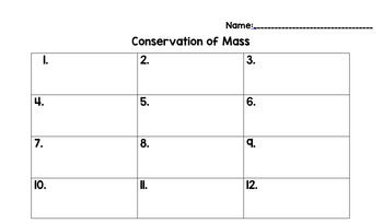 Conservation of Mass Task Cards